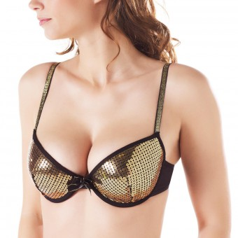 Soutien-gorge ampliforme push moulé noir/or Night Fever